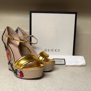 Gucci Espadrille Wedge Sandal Mtllc Gold 41 / 11